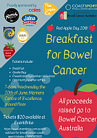 Join Coast Sport for 'Breakfast for Bowel Cancer' on Red Apple Day